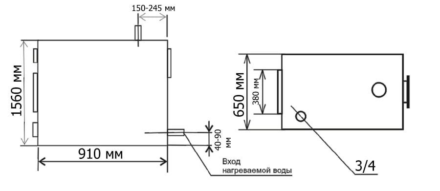 Габаритные и присоединительные размеры дровяного пиролизного котла Гейзер 75 кВт