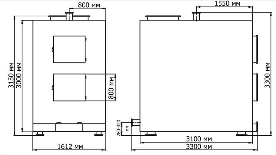 Габаритные и присоединительные размеры газогенераторного котла на дровах Гейзер 800 кВт