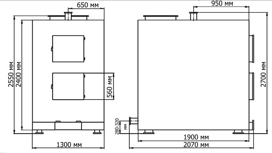 Габаритные и присоединительные размеры современного пиролизного котла 250 кВт