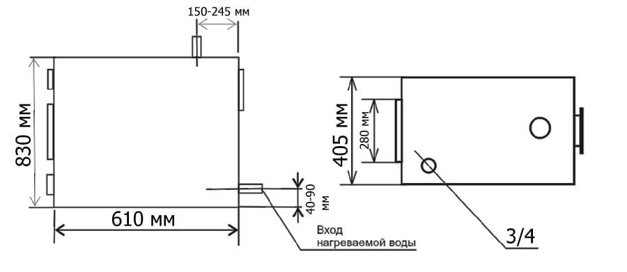 Габаритные и присоединительные размеры дровяного пиролизного котла Гейзер 15 кВт