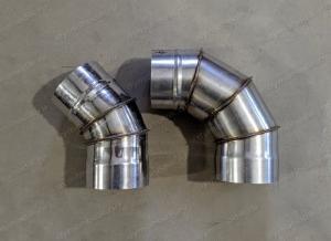 Отвод 350 мм из нержавеющей стали 0,8 мм для дымохода
