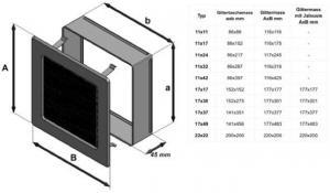 Фото чертежа и размера вентиляционной решетки Kratki 11x42 Оскар черная/хром