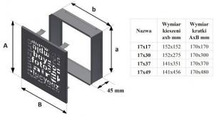 Фото чертежа и размера вентиляционной решетки Kratki 17x17 ABC черная