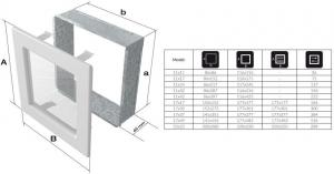 Фото чертежа и размера вентиляционной решетки Kratki 17x17 Venus Swarovsky черно-серебристая