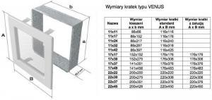 Фото чертежа и размера вентиляционной решетки Kratki 17x37 Venus графитовая с жалюзи