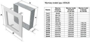 Фото чертежа и размера вентиляционной решетки Kratki 17x49 Venus бежевая с жалюзи