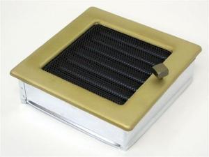 Вентиляционная решетка Kratki 17x17 Гальваника под золото с жалюзи