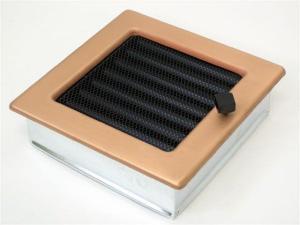 Вентиляционная решетка Kratki 17x17 Гальваника под медь с жалюзи