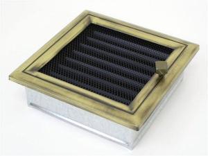 Вентиляционная решетка Kratki 17x17 Оскар латунь с жалюзи