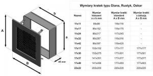 Фото чертежа и размера вентиляционной решетки Kratki 17x17 Оскар черная с жалюзи