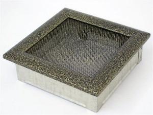 Вентиляционная решетка Kratki 17x17 Оскар черная/латунь