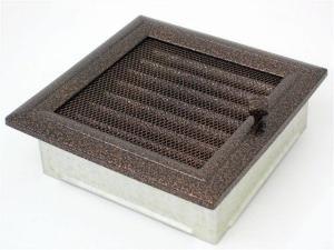 Вентиляционная решетка Kratki 17x17 Оскар черная/медь с жалюзи