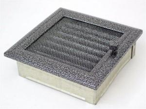 Вентиляционная решетка Kratki 17x17 Оскар черная/хром с жалюзи