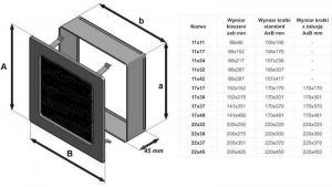 Фото чертежа и размера вентиляционной решетки Kratki 17x17 Черная с жалюзи