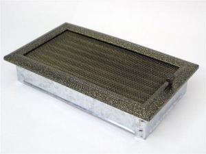 Вентиляционная решетка Kratki 17x30 Оскар черная/латунь с жалюзи