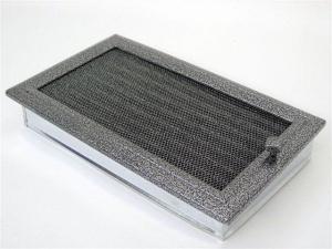 Вентиляционная решетка Kratki 17x30 Оскар черная/хром с жалюзи