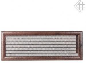 Вентиляционная решетка Kratki 17x49 Оскар черная/медь с жалюзи