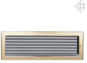Вентиляционная решетка Kratki 17x49 Полированная латунь с жалюзи