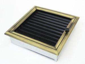 Вентиляционная решетка Kratki 22x22 Оскар латунь с жалюзи