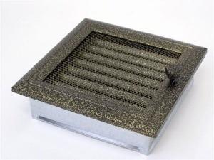Вентиляционная решетка Kratki 22x22 Оскар черная/латунь с жалюзи