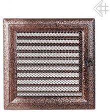 Вентиляционная решетка Kratki 22x22 Оскар черная/медь с жалюзи