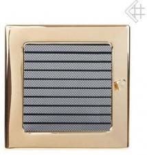 Вентиляционная решетка Kratki 22x22 Полированная латунь с жалюзи