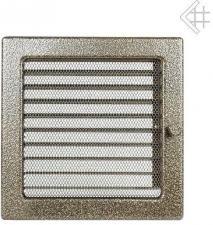 Вентиляционная решетка Kratki 22x22 Черная/латунь пористая с жалюзи