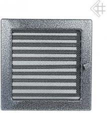Вентиляционная решетка Kratki 22x22 Черная/хром пористая с жалюзи