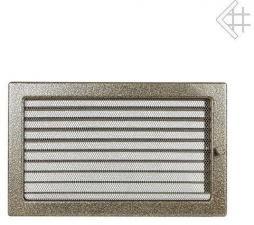 Вентиляционная решетка Kratki 22x30 Черная/латунь пористая с жалюзи