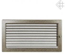 Вентиляционная решетка Kratki 22x37 Черная/латунь пористая с жалюзи