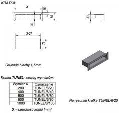 Фото чертежа и размера вентиляционной решетки Kratki 6x20 Туннель черная