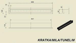 Фото чертежа и размера вентиляционной решетки Kratki Mila тунель 120x900