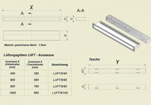 Фото чертежа и размера вентиляционной решетки Kratki Люфт 6x40
