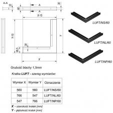 Фото чертежа и размера вентиляционной решетки Kratki Люфт угловая правая черная 60
