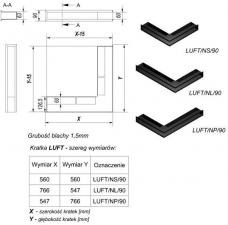 Фото чертежа и размера вентиляционной решетки Kratki Люфт угловая стандарт белая 90