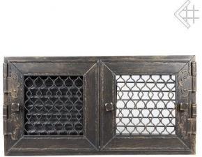 Вентиляционная решетка Kratki Ретро графит с двумя дверками открывающаяся 17x17