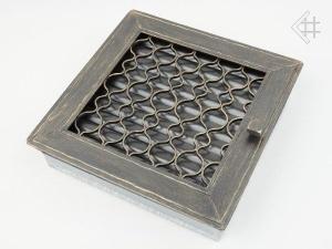 Вентиляционная решетка Kratki Ретро графит с одной дверкой выдвигающаяся 17x17