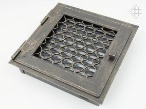 Вентиляционная решетка Kratki Ретро графит с одной дверкой открывающаяся 22x22