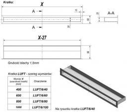 Фото чертежа и размера вентиляционной решетки Kratki Люфт графитовая 6x40