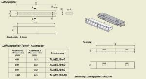 Фото чертежа и размера вентиляционной решетки Kratki Тунель 6x100