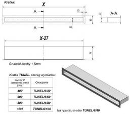 Фото чертежа и размера вентиляционной решетки Kratki Тунель стальная 6x60