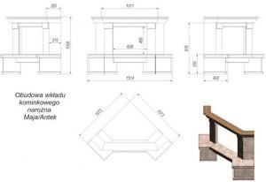 Фото чертежа и размера облицовки Taormina угловой (Maja, Antek)