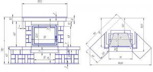 Фото чертежа и размера облицовки АМУР угловой (для топки Eryk 700)