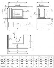 Фото чертежа и размера облицовки БАЙКАЛ для топки Maja-стекло слева/справа