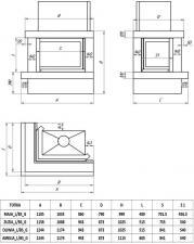Фото чертежа и размера облицовки ЛАДОГА угловой для топки Maja-угловое стекло слева, гильотина