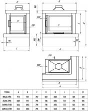Фото чертежа и размера облицовки ЛАДОГА угловой для топки Maja-угловое стекло справа