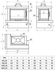 Фото чертежа и размера облицовки ЛАДОГА угловой для топки Oliwia-угловое стекло слева