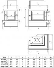 Фото чертежа и размера облицовки ЛАДОГА угловой для топки Zuzia-угловое стекло справа, гильотина