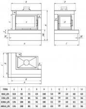 Фото чертежа и размера облицовки ОНЕГА для топки Maja-угловое стекло слева