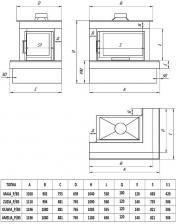 Фото чертежа и размера облицовки ОНЕГА для топки Maja-угловое стекло справа
